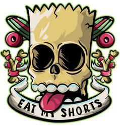 Skull eat my shorts vector