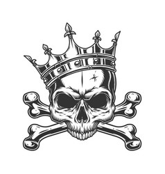 skull without jaw in royal crown vector image