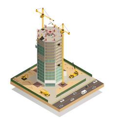 Skyscraper construction isometric composition vector