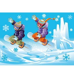 Snowboarding together vector image