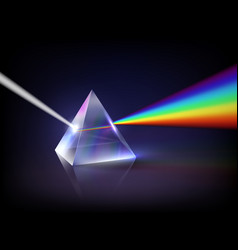 spectrum refraction glass pyramid prism low poly vector image