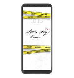 Stay at home realistic smartphone with yellow vector