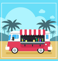 summer drinks and smoothies truck vector image