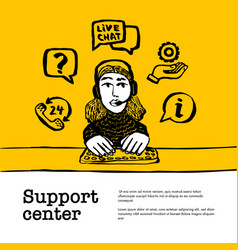 support center concept customer service chat web vector image