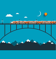 train on bridge over mountains night vector image