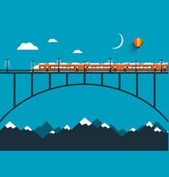 train on bridge over the mountains night vector image