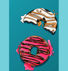 two donuts with cream and frosting vector image