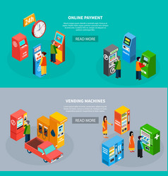 vending machines isometric banners set vector image