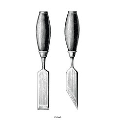 Vintage chisel hand drawing clip art isolated on vector