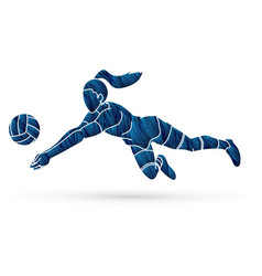 Volleyball player action cartoon graphic vector