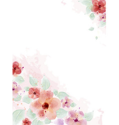 watercolor with bouquet flower and leaves vector image