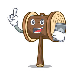 With phone mallet character cartoon style vector