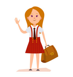 Young girl in school uniform with bag vector