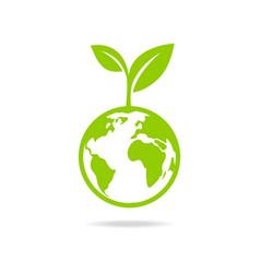 Eco icon green earth vector image vector image