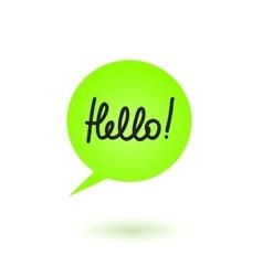 Hello Speech Bubble vector image vector image