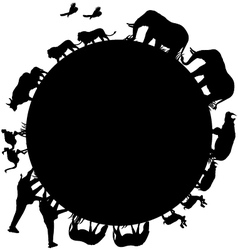 animal silhouette and world vector image
