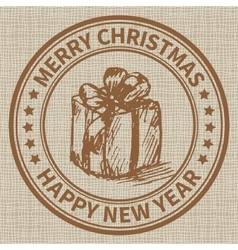 Christmas stamp vector image vector image