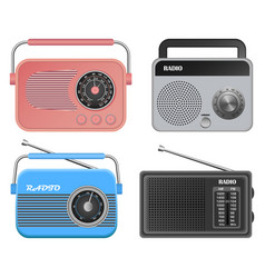 radio music old device mockup set realistic style vector image