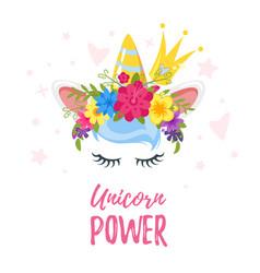 unicorn head with flower wreath vector image