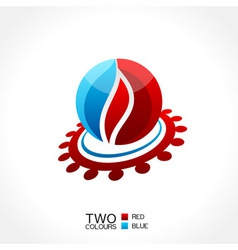 vector business emblem fire water icon round vector image vector image