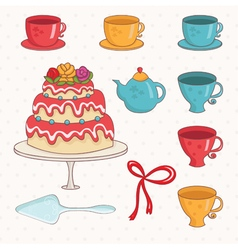 cartoon cakecups and teapot vector image vector image