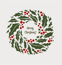 christmas wreath of holly with vector image vector image
