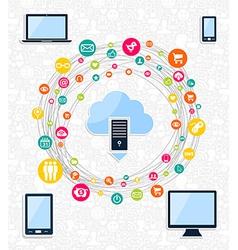 Cloud computing network concept vector image