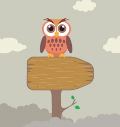 cute owl on direction sign vector image