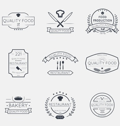 Thin line food emblems vector image vector image