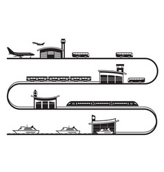 travel among different transport stations vector image