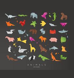 animals origami set black vector image vector image