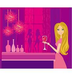 Beautiful disco girl with drink vector image