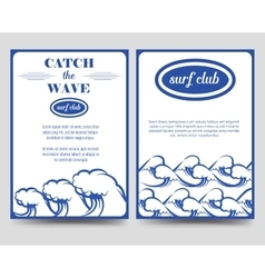 Surf brochure flyer template with waves vector image vector image