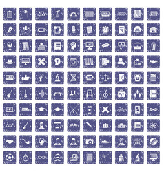 100 student icons set grunge sapphire vector