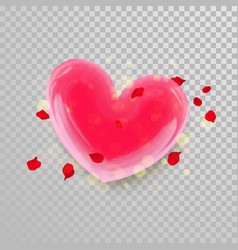 3d heart and flower petals on transparent vector image