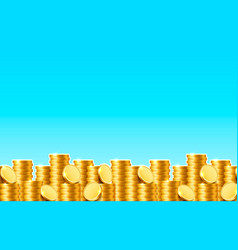 a lot coins on blue background vector image