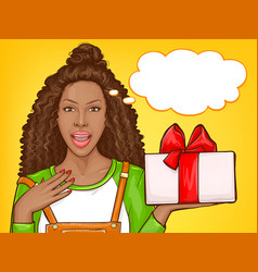 African american woman with giftbox vector