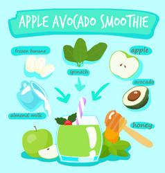 apple avocado delicious healthy smoothies xa vector image