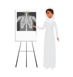 Arab muslim doctor wearing veil hijab with x-ray vector image
