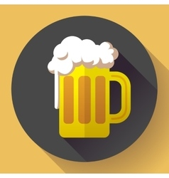 beer glass cup icon Oktoberfest logo Flat vector image