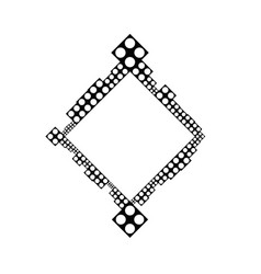 Black and white abstract geometrical dot border vector