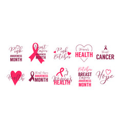 Breast cancer logo set womens health hope pink vector