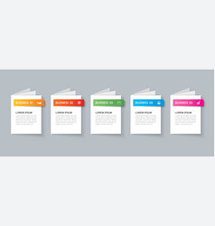 business infographics book template with 5 data vector image