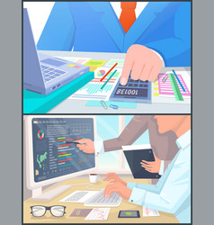 business people work at computer and calculate vector image
