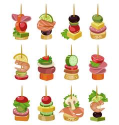 Canape appetizer cartoon on vector
