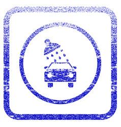 Car wash framed textured icon vector