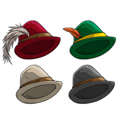 Cartoon bavarian traditional hat with feather vector