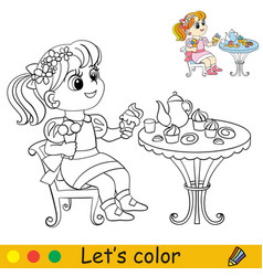 cartoon cute girl sitting at table with a tea vector image