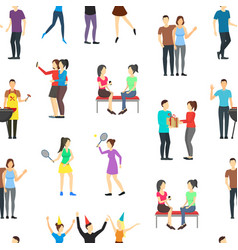 cartoon friends social characters seamless pattern vector image