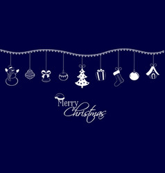christmas pendants on a dark blue background vector image